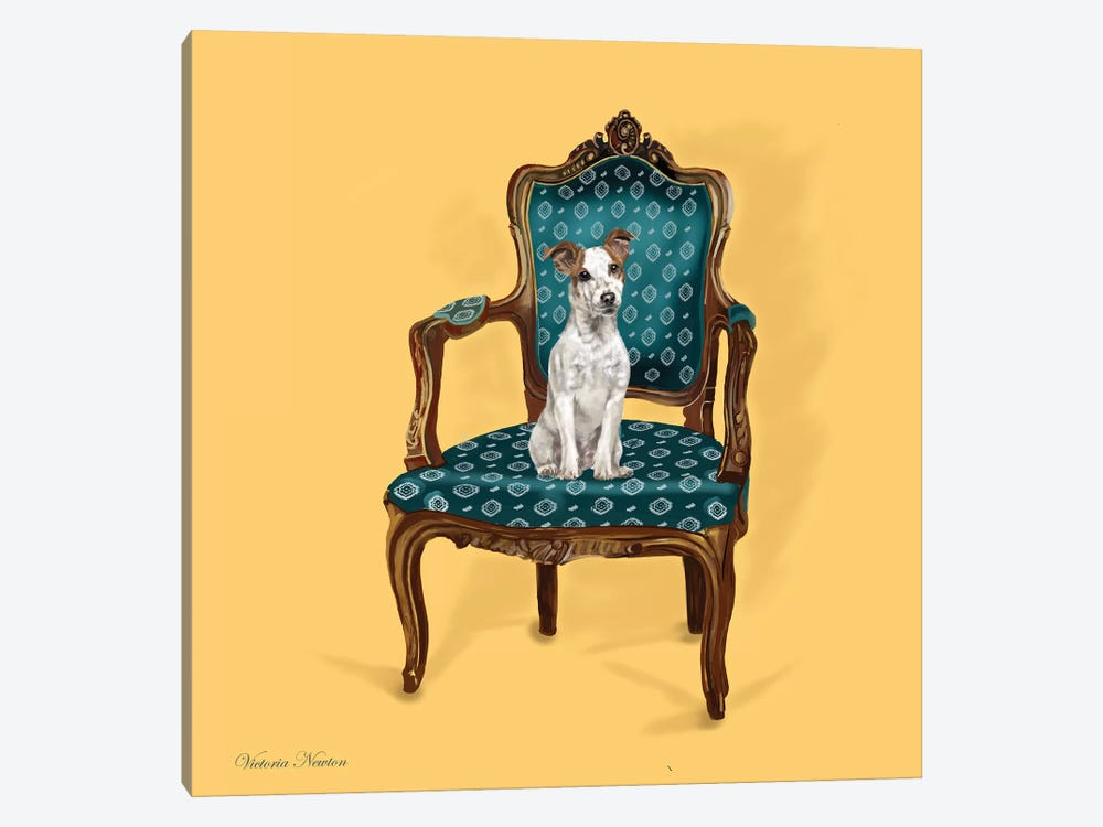 Jack Russell In Chair by Vicki Newton 1-piece Canvas Artwork