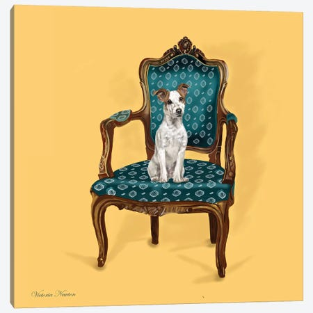 Jack Russell In Chair Canvas Print #VNE44} by Vicki Newton Canvas Wall Art