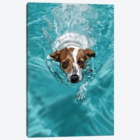 Jack Russell Swimming Canvas Print #VNE45} by Vicki Newton Canvas Art