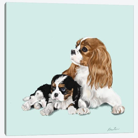 King Charles Pair 3-Piece Canvas #VNE48} by Vicki Newton Canvas Art Print