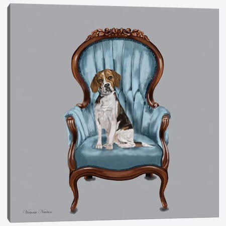 Beagle Blue Chair Canvas Print #VNE8} by Vicki Newton Art Print