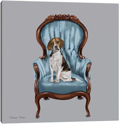 Beagle Blue Chair Canvas Art Print