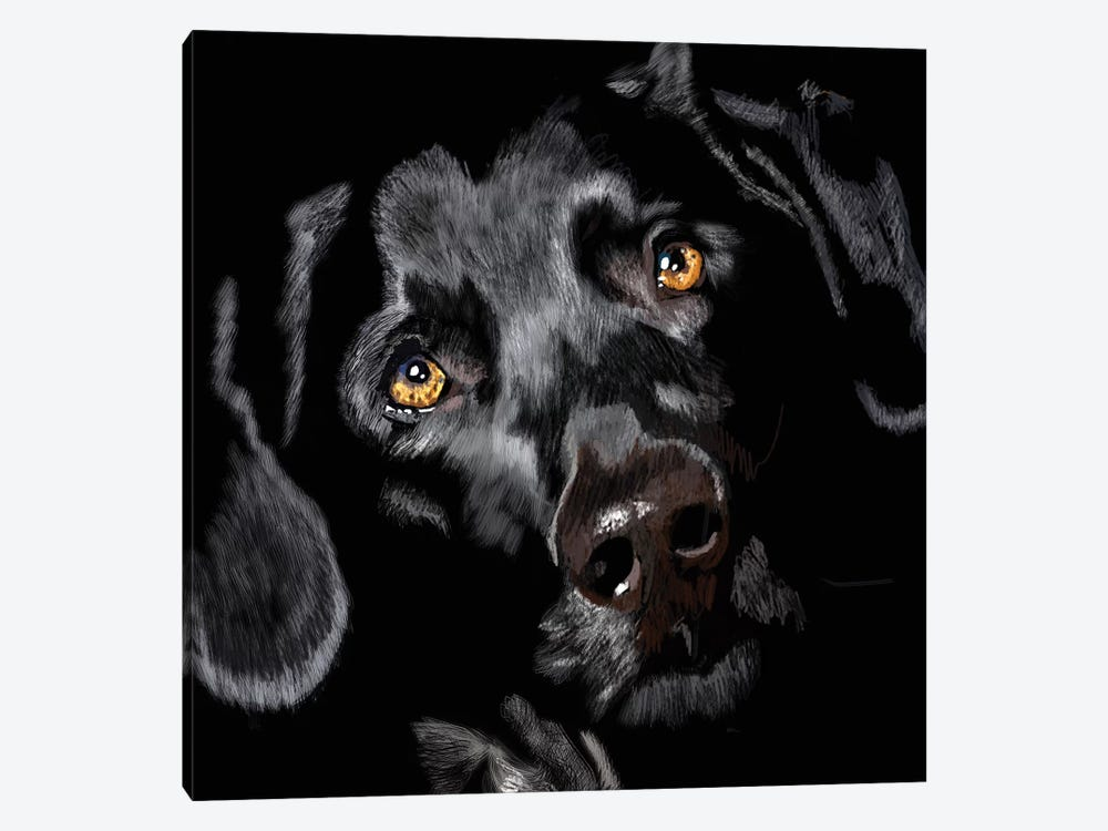 Black Lab On Black by Vicki Newton 1-piece Art Print