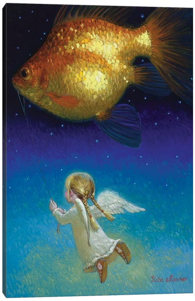 Flying With Angel Canvas Art Print