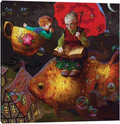 Midnight Secret (Grandma On Fish) Canvas Art Print