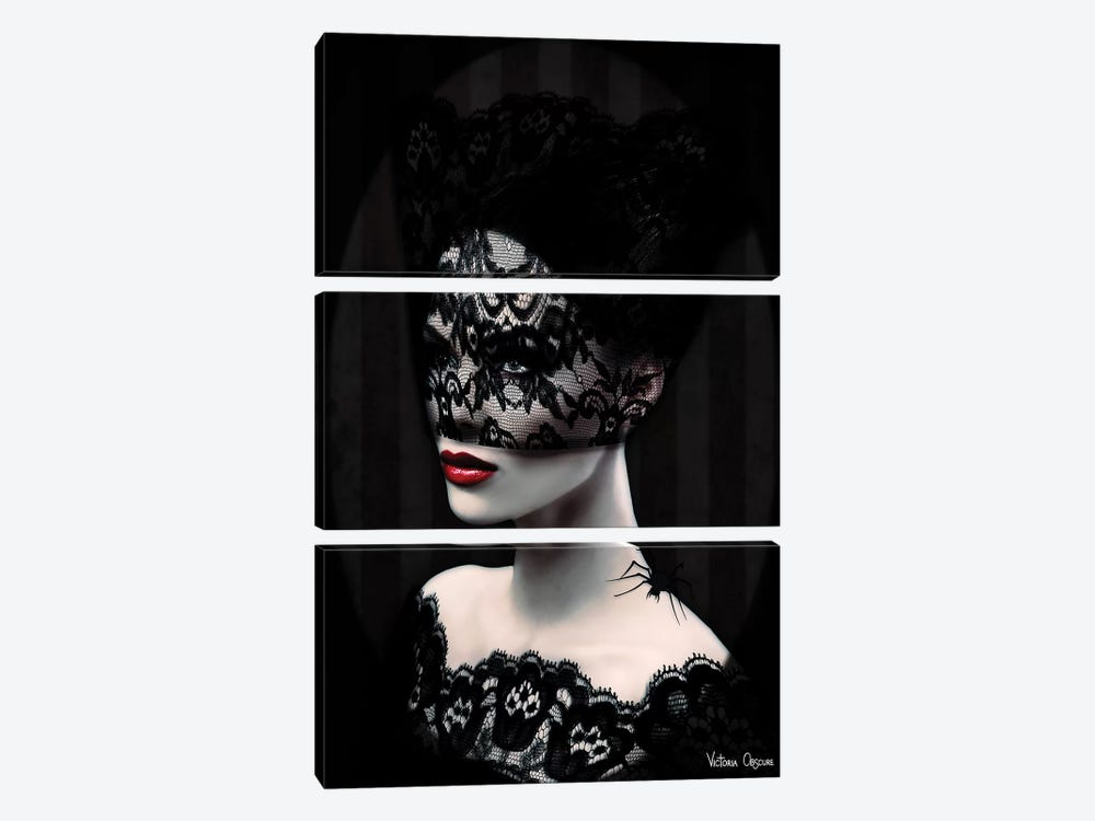 Black Lace by Victoria Obscure 3-piece Canvas Wall Art