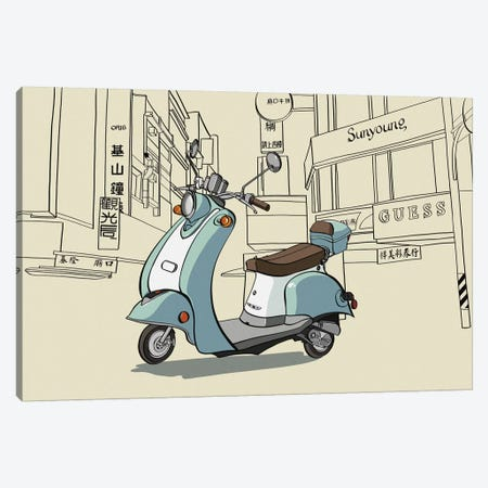 Taipei - Moped Canvas Print #VOW10} by 5by5collective Art Print