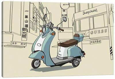 Taipei - Moped Canvas Art Print