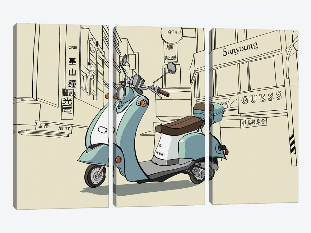Taipei - Moped by 5by5collective 3-piece Art Print