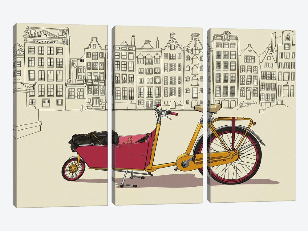 Amsterdam - Bicycle by 5by5collective 3-piece Canvas Art Print