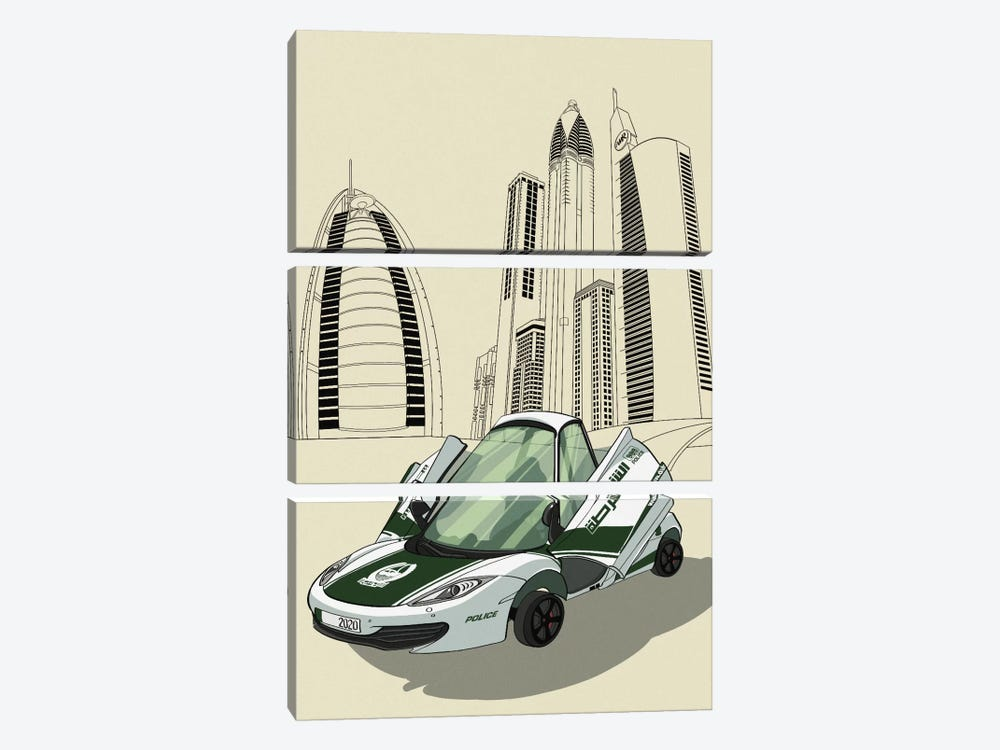 Dubai - Sports car 3-piece Art Print