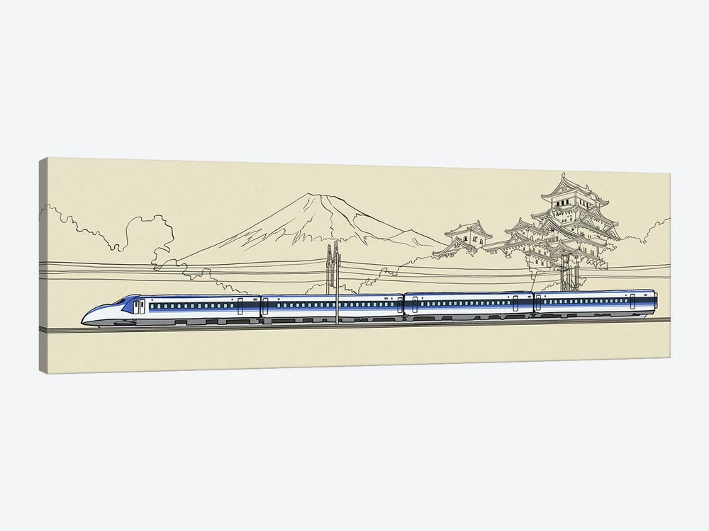 Japan - Bullet train by 5by5collective 1-piece Canvas Print