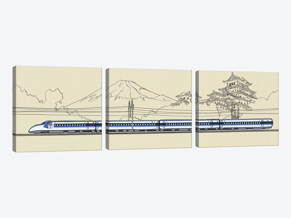 Japan - Bullet train by 5by5collective 3-piece Canvas Print