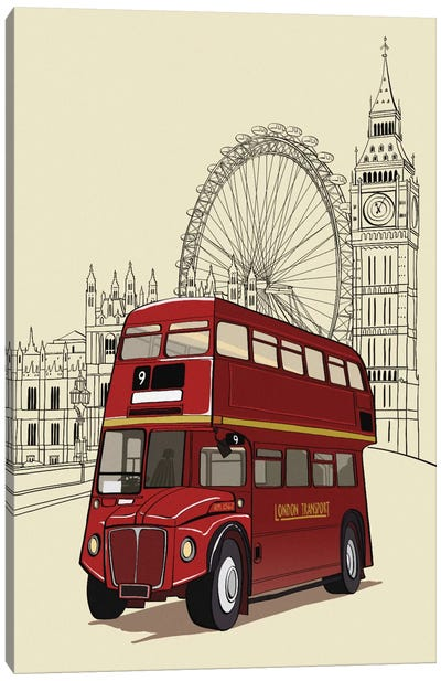London - Double decker bus Canvas Art Print