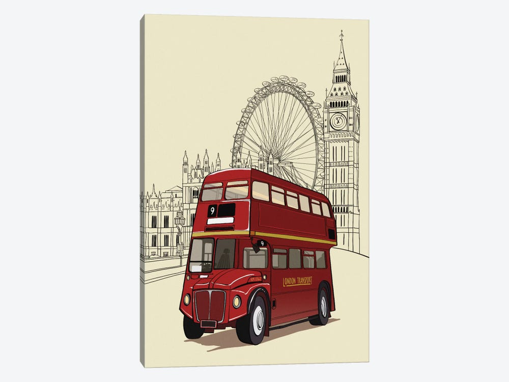 London - Double decker bus by 5by5collective 1-piece Canvas Artwork