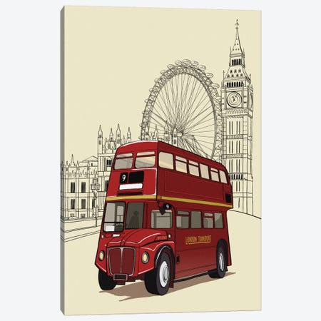 London - Double decker bus Canvas Print #VOW6} by 5by5collective Canvas Art