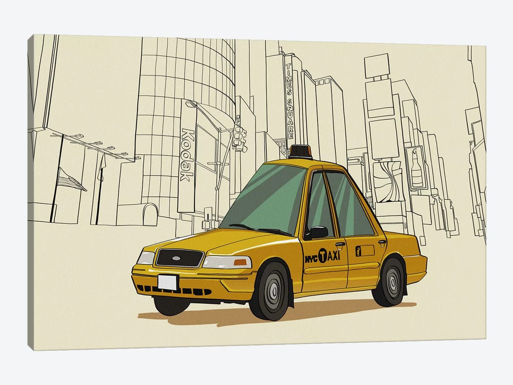New York - Taxi by 5by5collective 1-piece Canvas Art Print