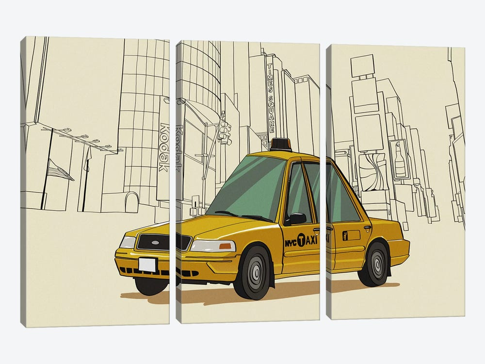 New York - Taxi by 5by5collective 3-piece Art Print