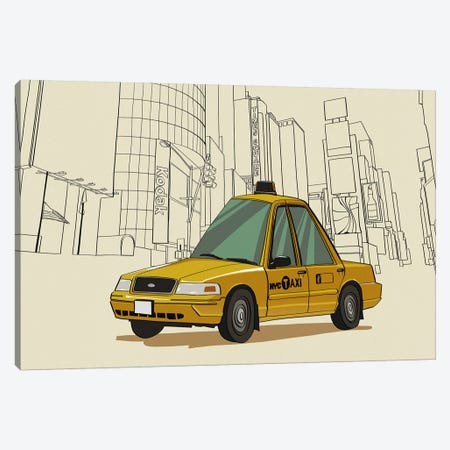 New York - Taxi Canvas Print #VOW7} by 5by5collective Canvas Art