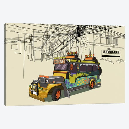 Philippines - Jeepney Canvas Print #VOW8} by 5by5collective Canvas Print