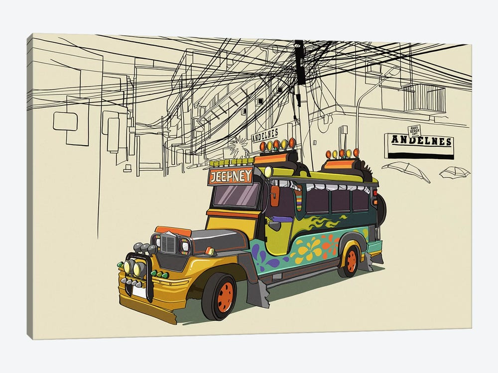 Philippines - Jeepney by 5by5collective 1-piece Canvas Artwork