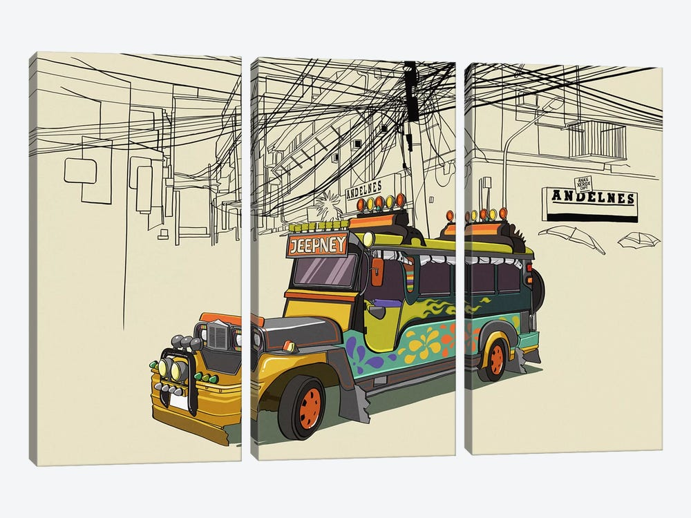 Philippines - Jeepney by 5by5collective 3-piece Canvas Wall Art