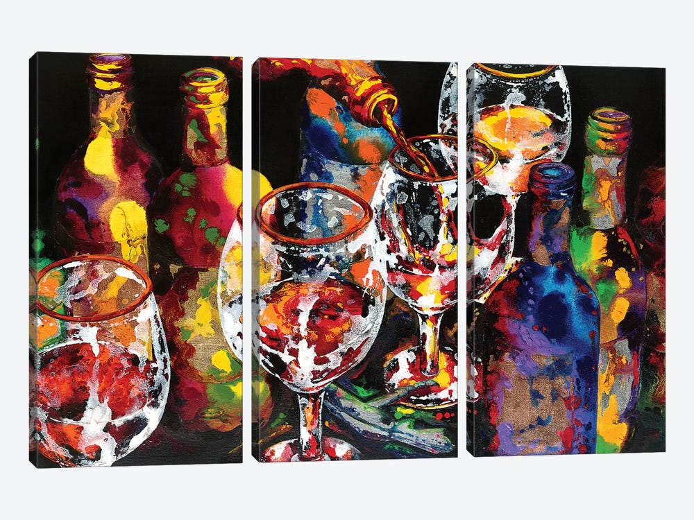 Miracle In A Glass by Vaso Peritos 3-piece Canvas Art Print