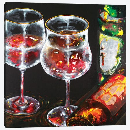 Wine For Two Canvas Print #VPE44} by Vaso Peritos Canvas Artwork