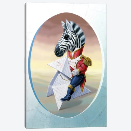 Mister Zebra Canvas Print #VQU28} by Valéry Vecu Quitard Canvas Wall Art