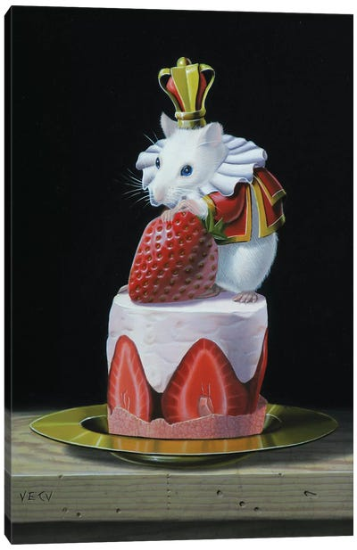 Mouse On A Cake Canvas Art Print