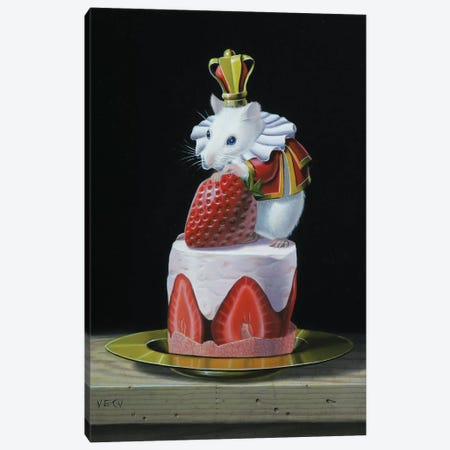 Mouse On A Cake Canvas Print #VQU30} by Valéry Vecu Quitard Art Print
