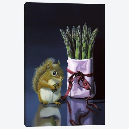 Squirrel And Asparagus Canvas Print #VQU40} by Valéry Vecu Quitard Canvas Artwork