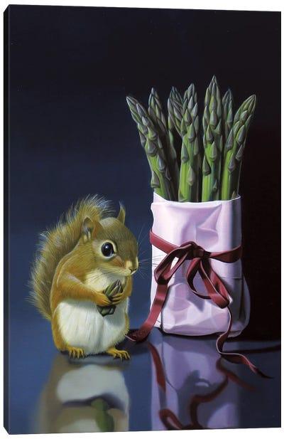 Squirrel And Asparagus Canvas Art Print