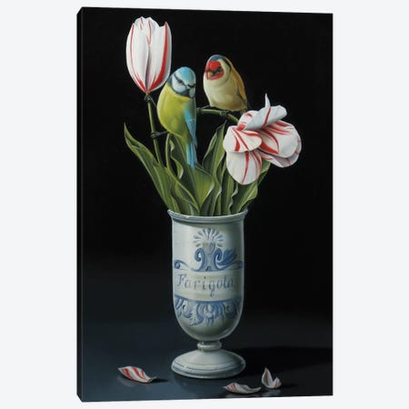 The Apothecary Vase And Tulips Canvas Print #VQU43} by Valéry Vecu Quitard Canvas Artwork