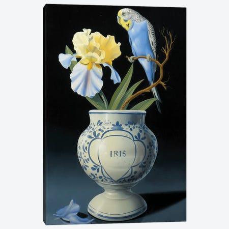 The Blue Parakeet Canvas Print #VQU45} by Valéry Vecu Quitard Art Print