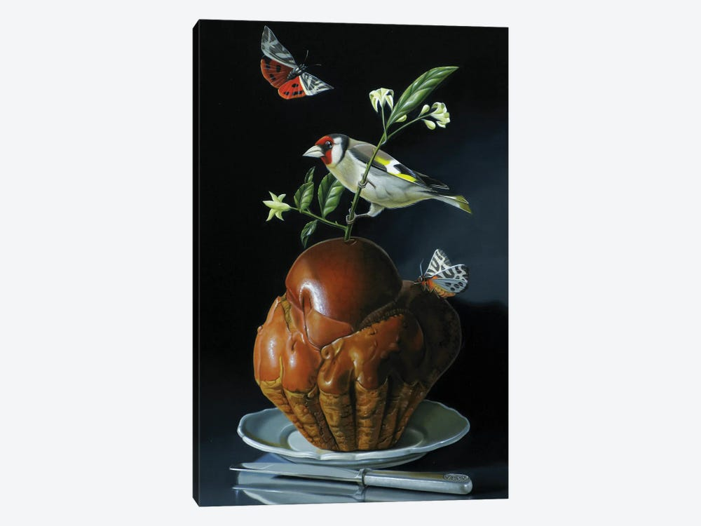 The Brioche And The Goldfinch by Valéry Vecu Quitard 1-piece Canvas Artwork