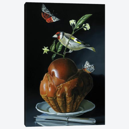 The Brioche And The Goldfinch Canvas Print #VQU46} by Valéry Vecu Quitard Canvas Print