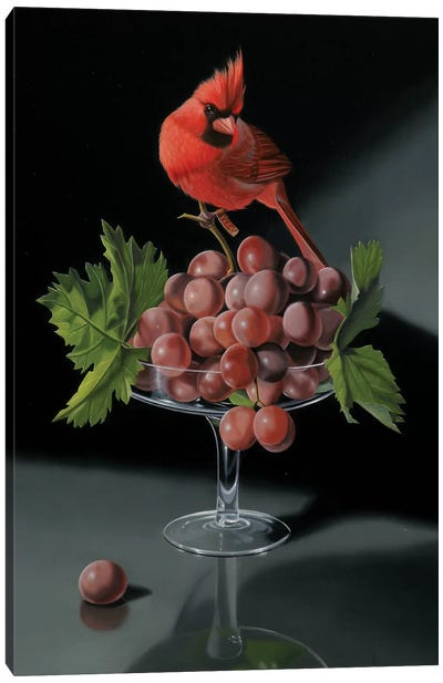 The Cardinal With The Cup Of Grapes Canvas Art Print