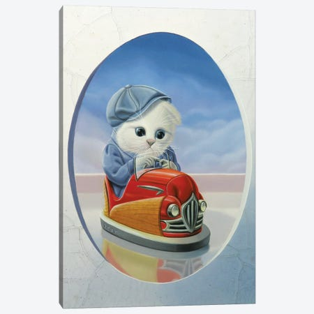 The Cat With The Bumper Car Canvas Print #VQU48} by Valéry Vecu Quitard Canvas Wall Art