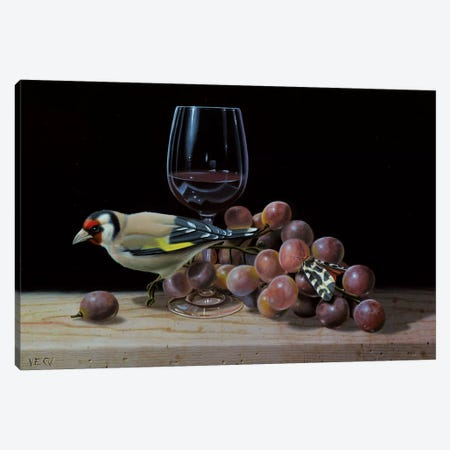 The Goldfinch And The Glass Of Wine Canvas Print #VQU54} by Valéry Vecu Quitard Canvas Wall Art