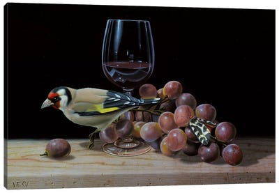 The Goldfinch And The Glass Of Wine Canvas Art Print