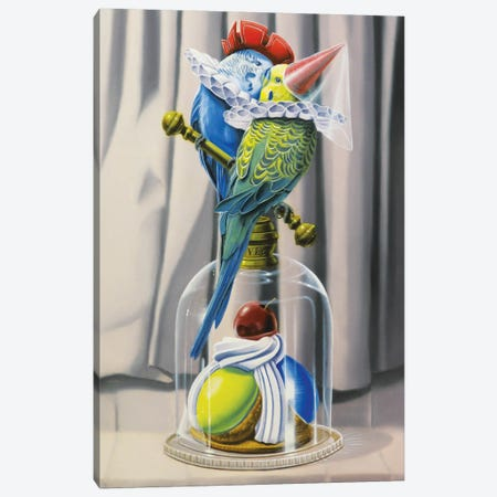 The Kiss Of Parakeets Canvas Print #VQU61} by Valéry Vecu Quitard Canvas Art