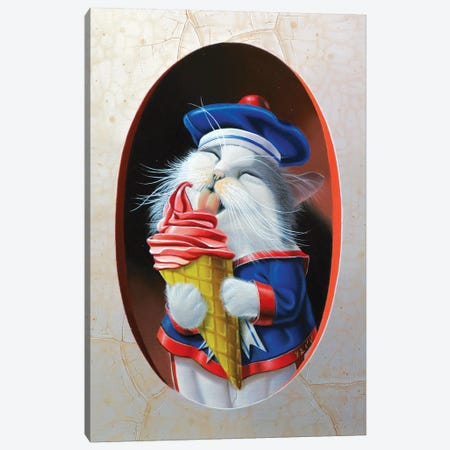 The Kitten With Ice Cream Canvas Print #VQU62} by Valéry Vecu Quitard Canvas Wall Art