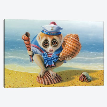 The Loris On The Beach Canvas Print #VQU63} by Valéry Vecu Quitard Canvas Art