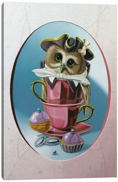 The Owl With Two Cups Canvas Art Print