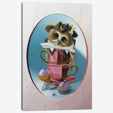 The Owl With Two Cups Canvas Print #VQU68} by Valéry Vecu Quitard Canvas Art