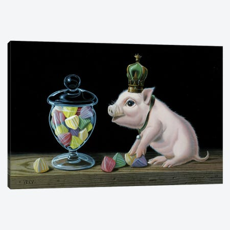 The Piglet With The Berlingots Canvas Print #VQU69} by Valéry Vecu Quitard Canvas Artwork