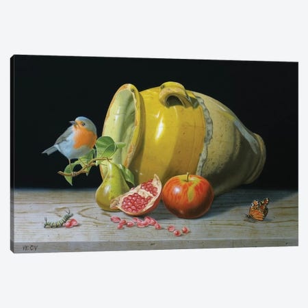 The Redbreast And The Provencal Pot Canvas Print #VQU72} by Valéry Vecu Quitard Canvas Print