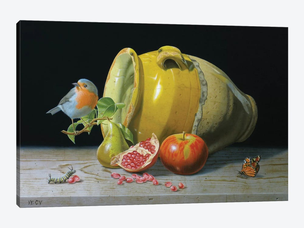 The Redbreast And The Provencal Pot by Valéry Vecu Quitard 1-piece Art Print