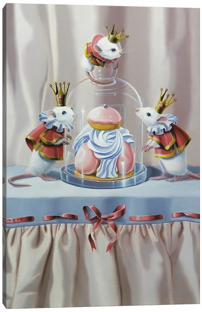 Three Mice And A Pastry Canvas Art Print